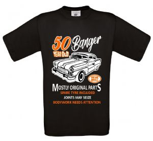 Premium Funny 50 Year Old Banger Classic Car Motif For 50th Birthday Anniversary gift mens t-shirt